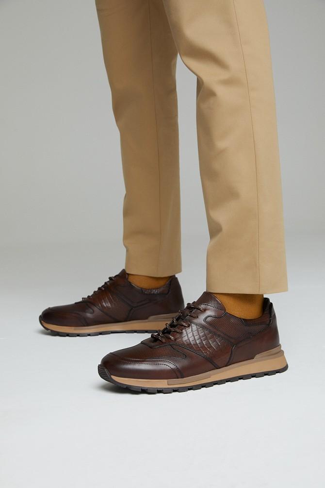 Kahverengi Erkek Deri Kroko Detaylı Sneaker 5638311844