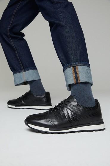 Siyah Erkek Deri Kroko Detaylı Sneaker 5638311869