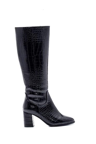 Siyah Kadın Kroko Topuklu Çizme 5638304316
