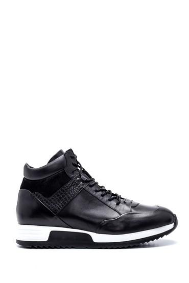 Siyah Erkek Deri Boğazlı Sneaker 5638317776