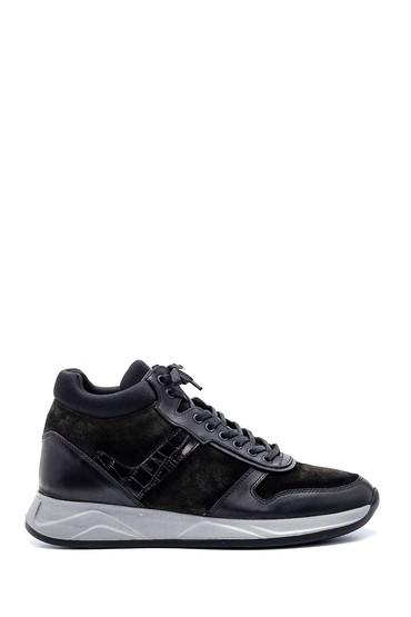 Siyah Erkek Kroko Detaylı Boğazlı Sneaker 5638331864