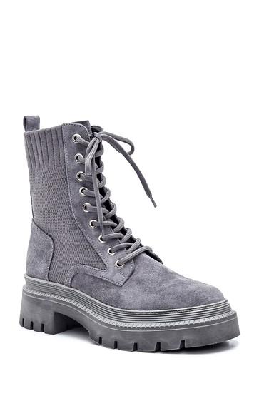 Gri Kadın Deri Çoraplı Bot 5638343587