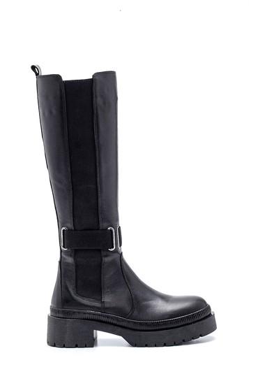 Siyah Kadın Deri Fermuarlı Çizme 5638345008