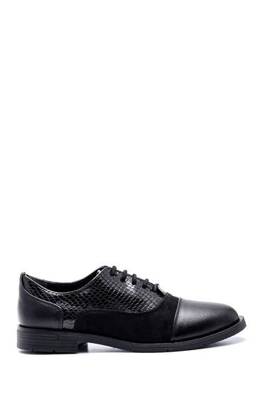 Siyah Kadın Yılan Desenli Oxford Ayakkabı 5638346397