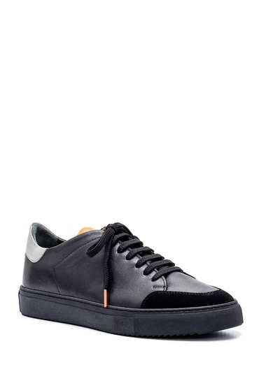 Siyah Erkek Deri Süet Detaylı Sneaker 5638357384
