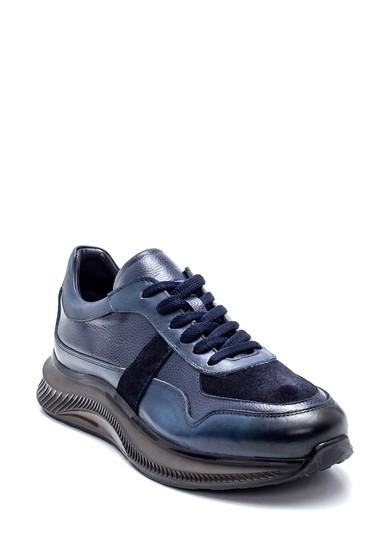 Lacivert Erkek Deri Süet Detaylı Sneaker 5638320146