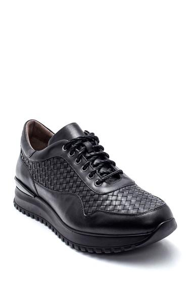 Siyah Erkek Deri Örgülü Sneaker 5638338047
