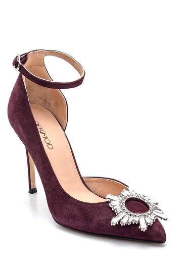 Bordo Kadın Deri Süet Tokalı Topuklu Ayakkabı 5638352850