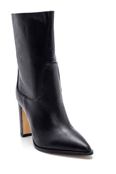 Siyah Kadın Deri Uzun Topuklu Bot 5638352984